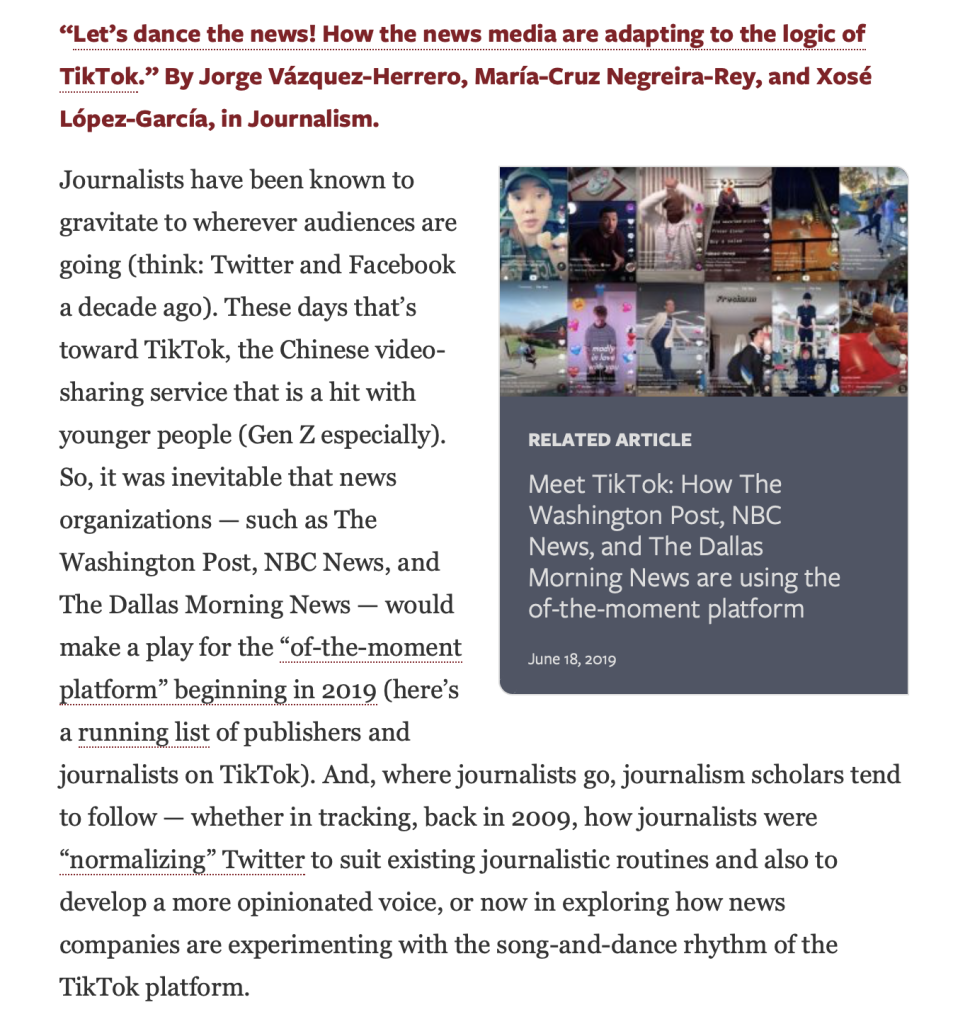 Let's dance the news! How the news media are adapting to the logic of TikTok